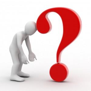 Figur som lener seg mot et sort rødt spørsmålsteng