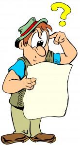 Mann som leser et dokument med et spørsmålstegn over hodet