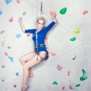 Ingrid Anette Hoff Melkersen på fotoshoot i klatreveggen