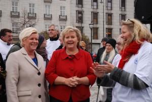 Siv Jensen, Erna Solberg og Tone Granaas. Foto: Trine Dahl–Johansen