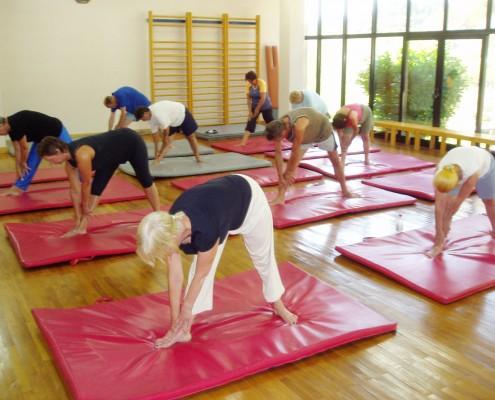 Mange i en treningssal som gjør tøyeøvelser for ryggen