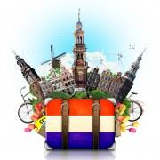 Tegnet koffert med nederlandsk flagg og severdigheter derfra stikkende ut
