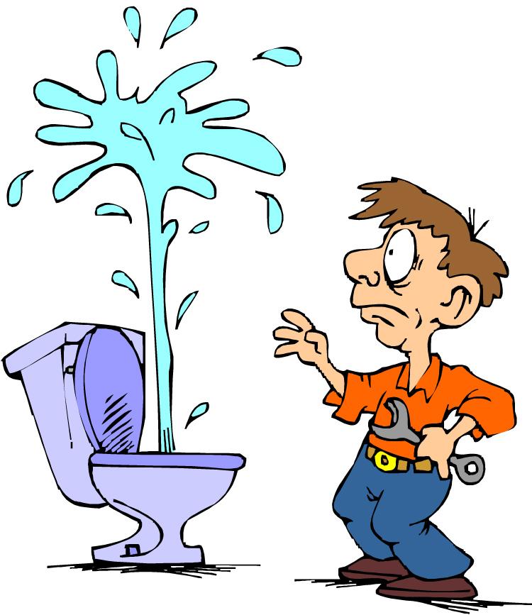 Tegning av rørlegger med toalett som spruter rett til værs