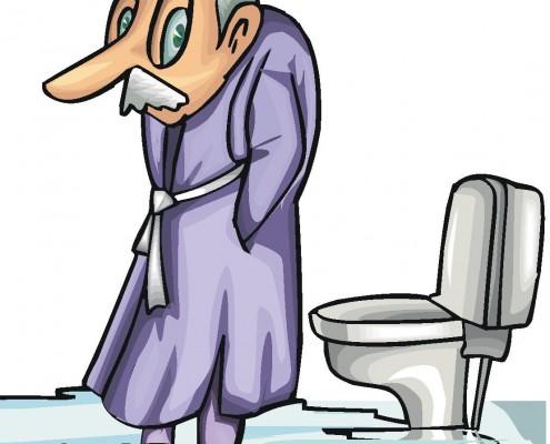 Tegnign avgammel mann foran et toalett