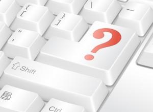 Tastatur med en stor spørsmålstknapp