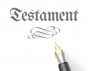 Testament skrevet på gammelt vis og en fyllepenn