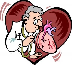 Tegning av lege som lytter på et hjerte