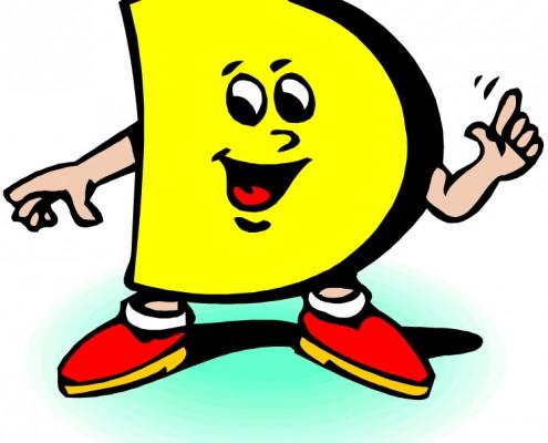 Tegning av en gul D med hender og føtter