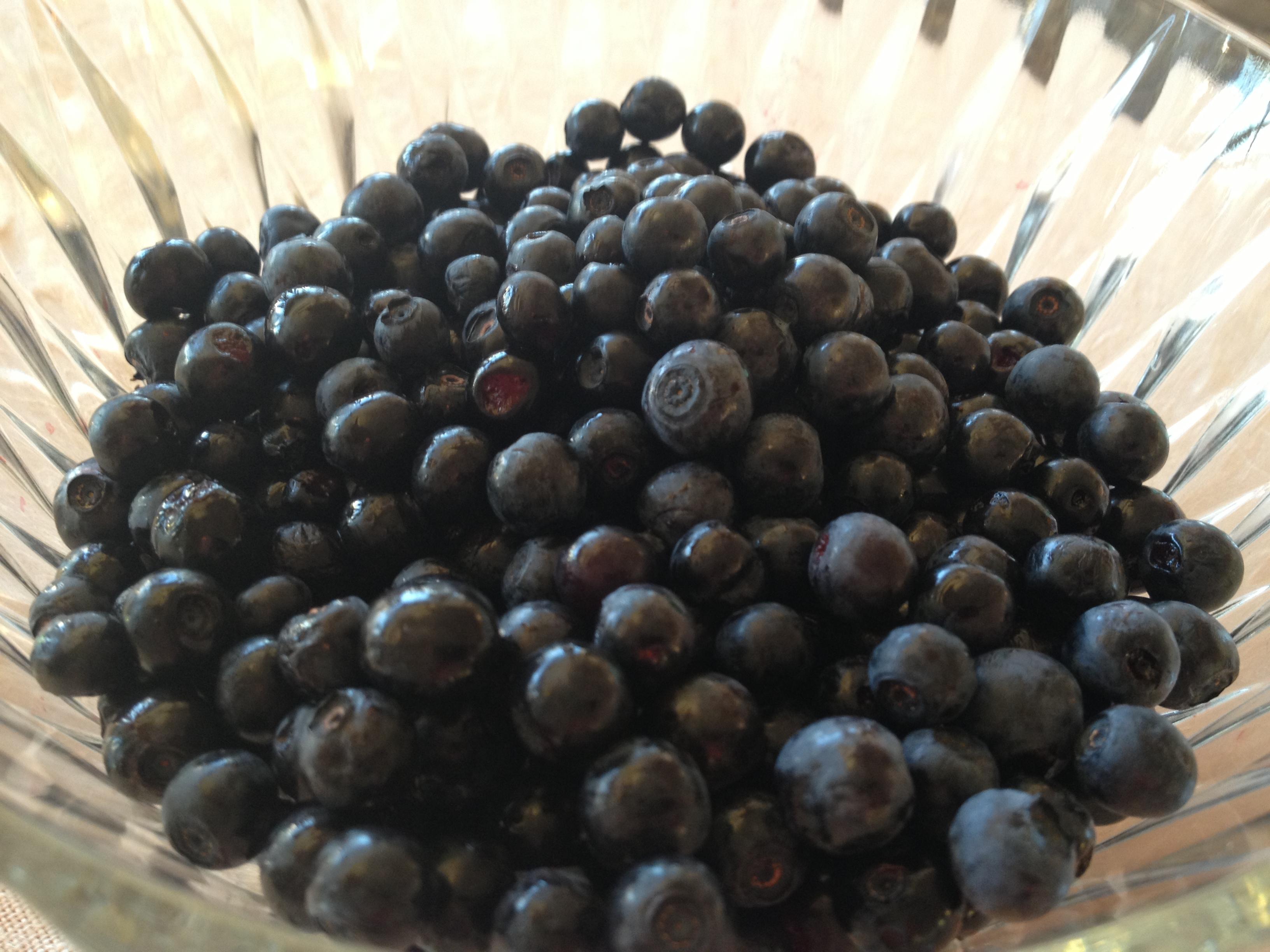 Glassbolle med masse blåbær oppi