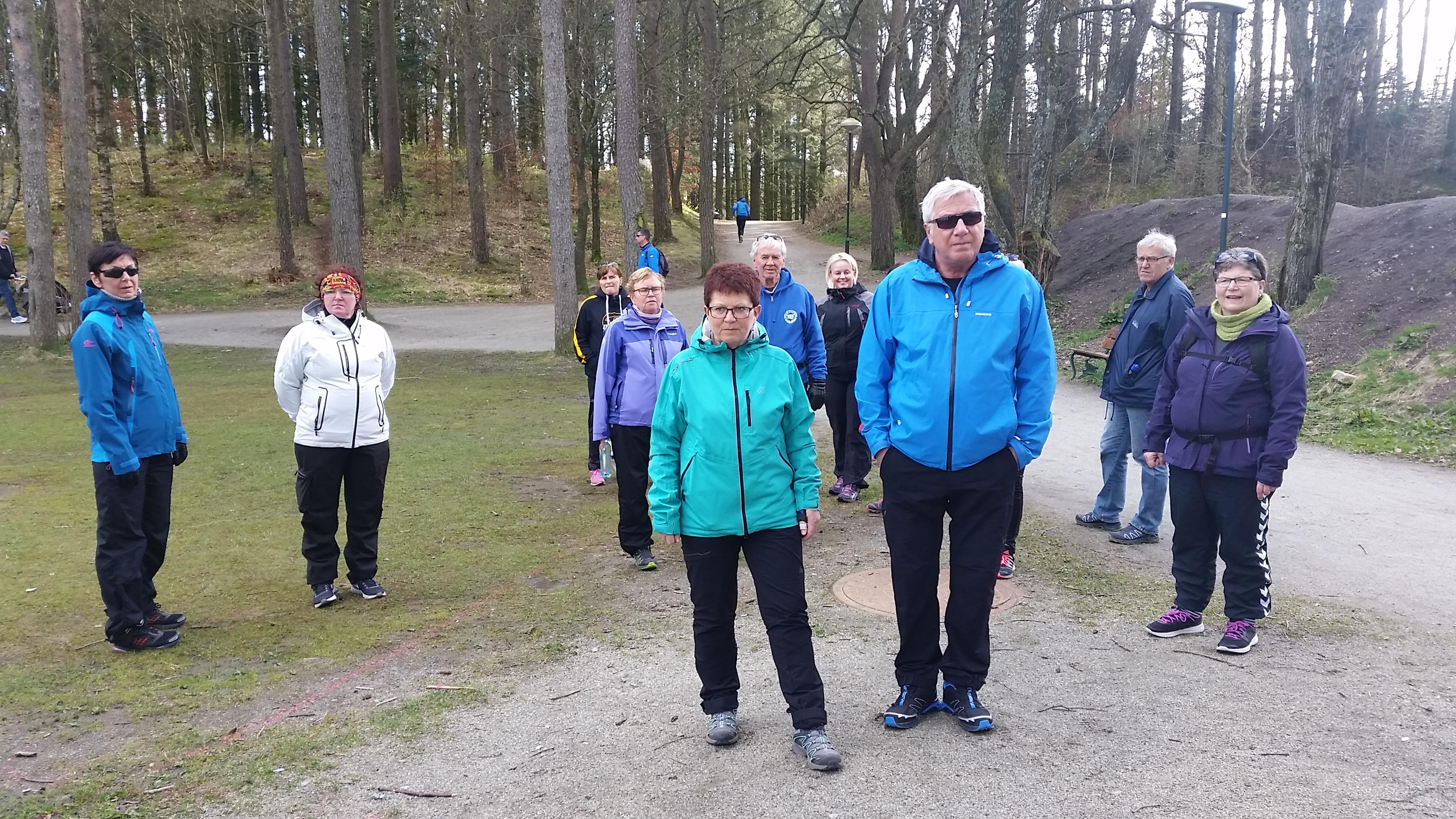 Turkledde mennesker på tur i skogen