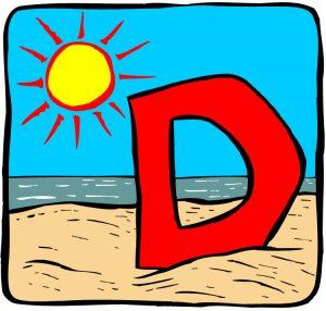 Tegning av en rød D på en strand med sol