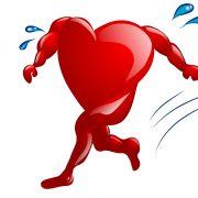 Tegnign av et hjerte som løper og svetter