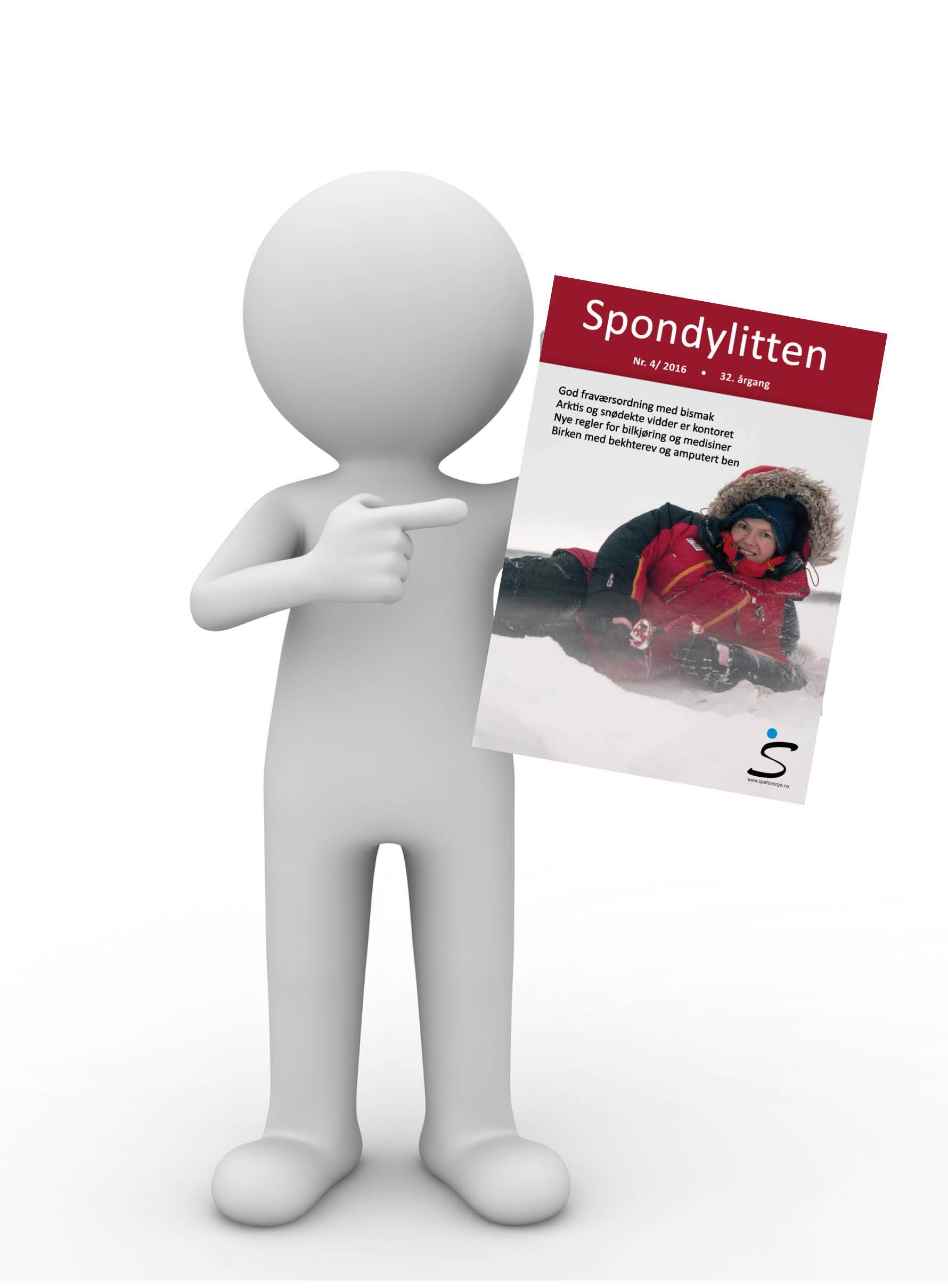 3D-mann som holder opp forsiden på Spondylitten 4-16