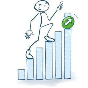 Figur som klatrer oppover et stolpediagram