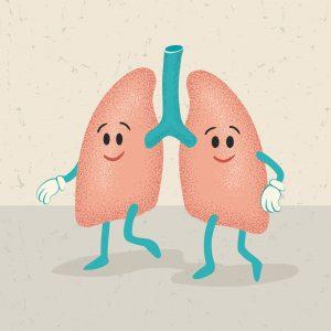Bilde av to tegned lunger med ansikt, armer og føtter