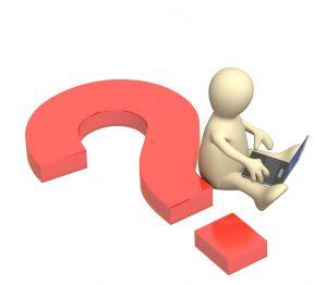 3D-mann med laptop og stort rødt spørsmålstegn