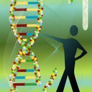 Tegning av DNA-molekyler og en mann som peker på dem