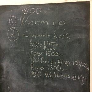 Treningsprogram skrevet på en svart tavle