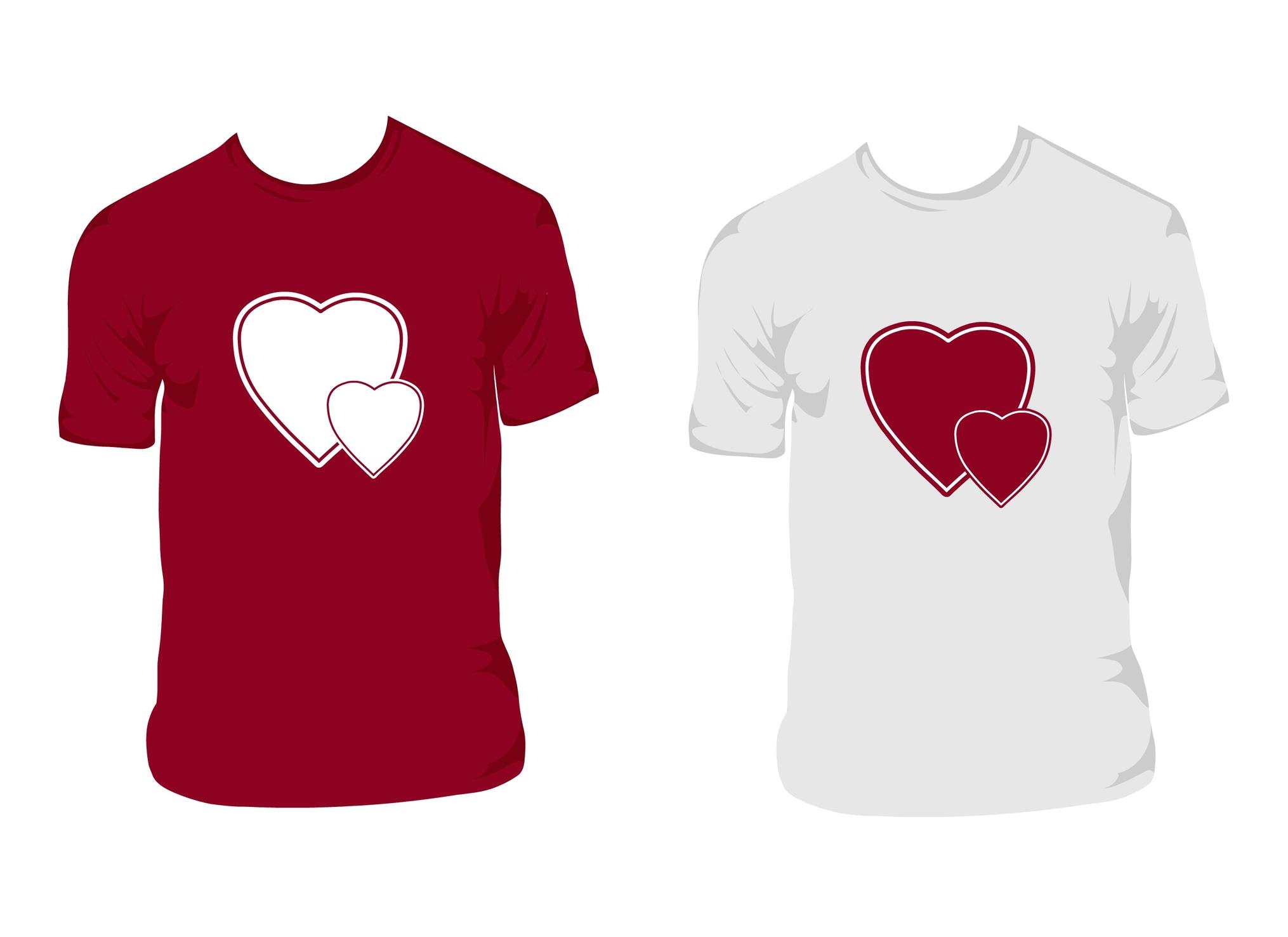 Rød og hvit t-shirt med hjerter på