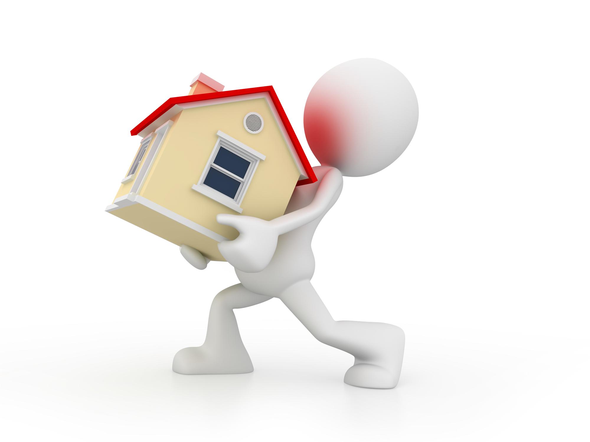 3D-mann som bærer på et hus