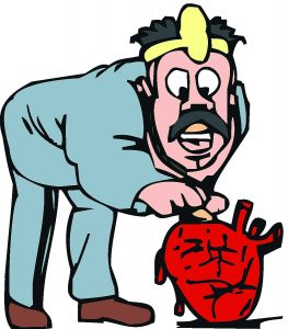 Tegning av lege som undersøker et rødt hjerte