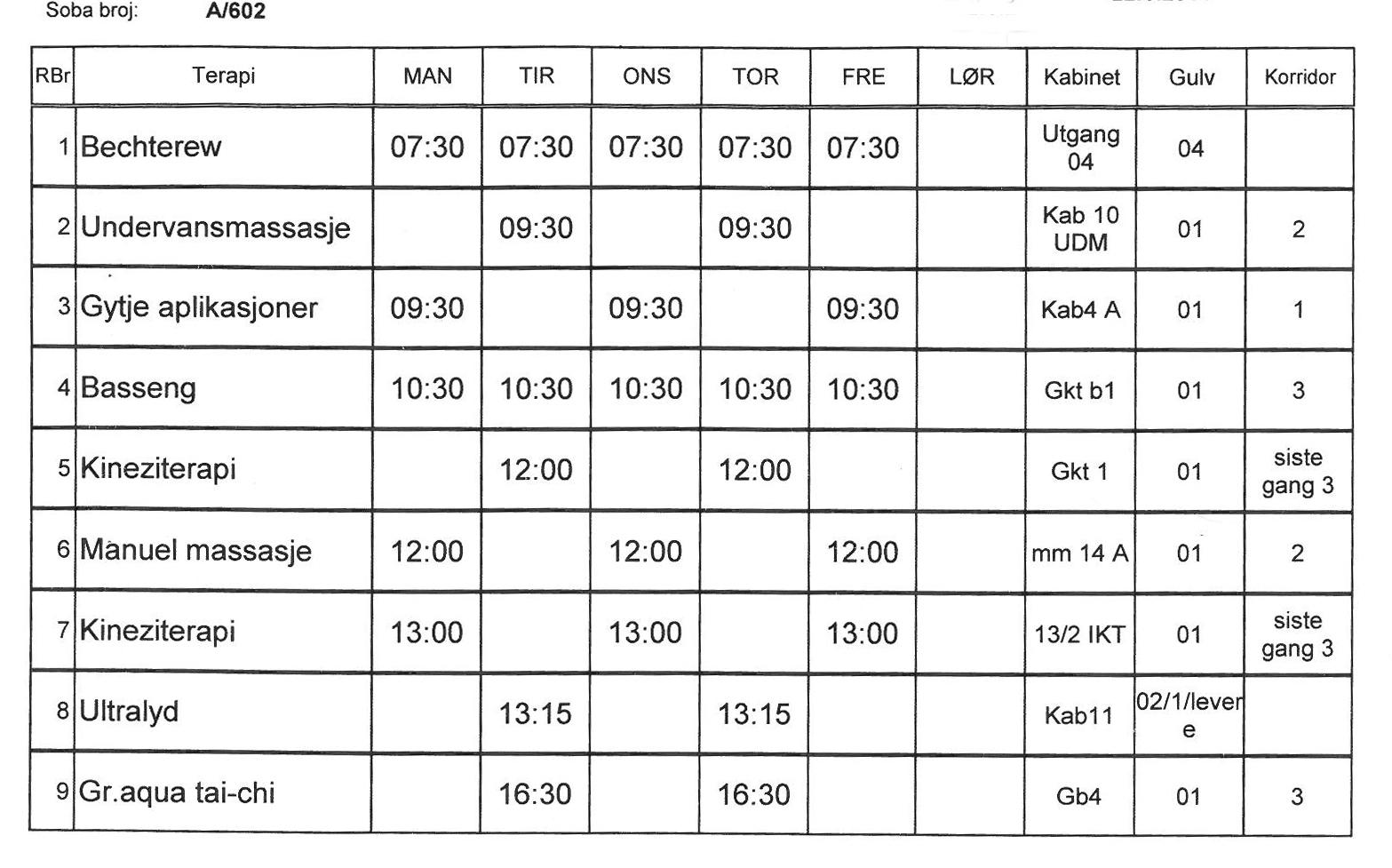 Timeplan over alle treninger og behandlinger
