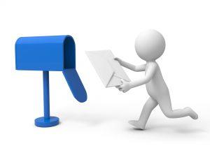 3D-figur leverer et brev i en blå postkasse