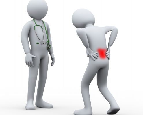 3D-mann med vond rygg møter lege