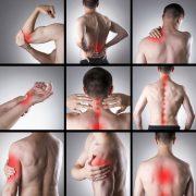 Bilder av amnge menn med røde markerte smertepunkt