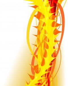 Tegning av ryggrad i gult og oransje, som ser ut som den stikker og brenner