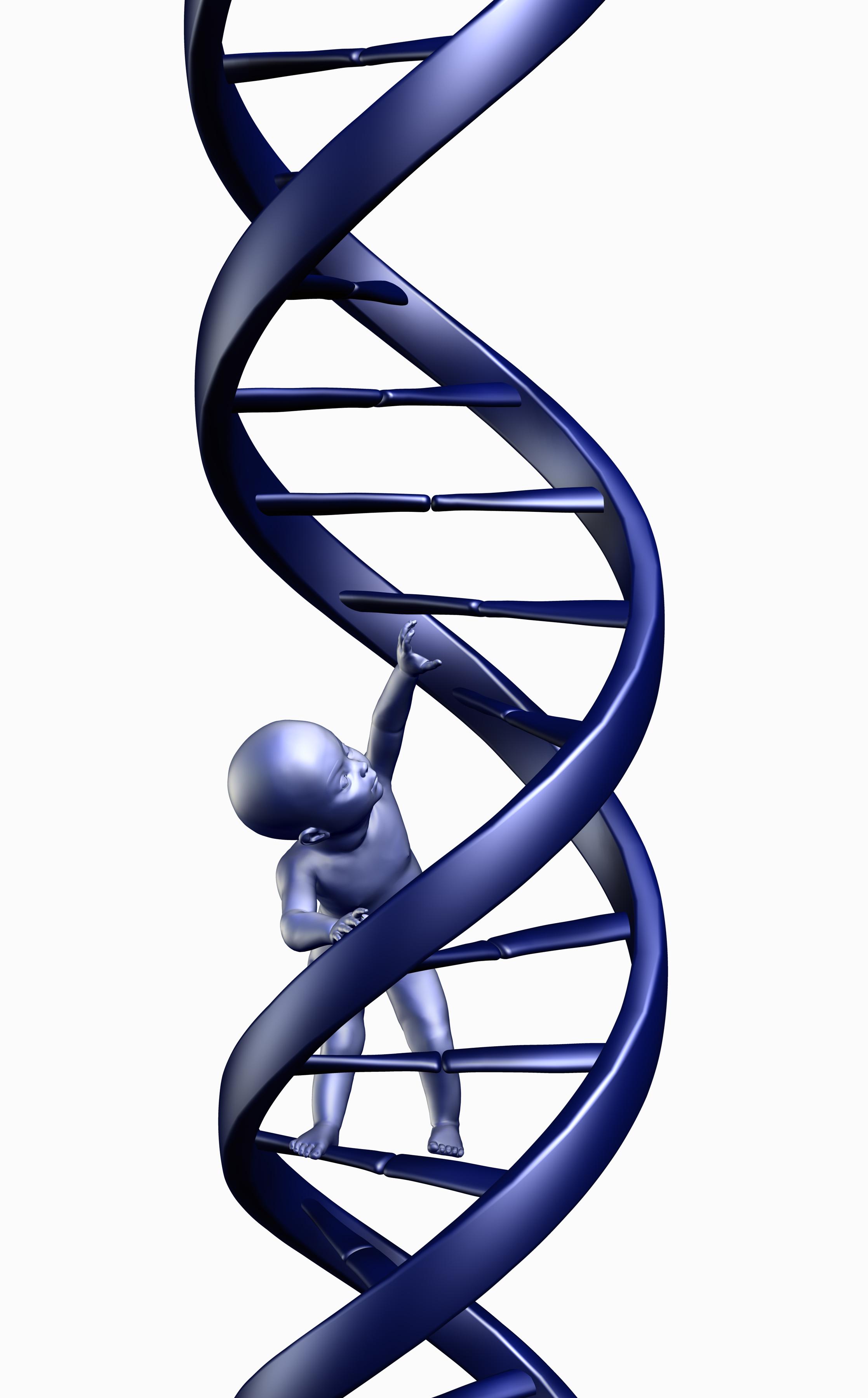 Baby klatrer i DNA-tråd
