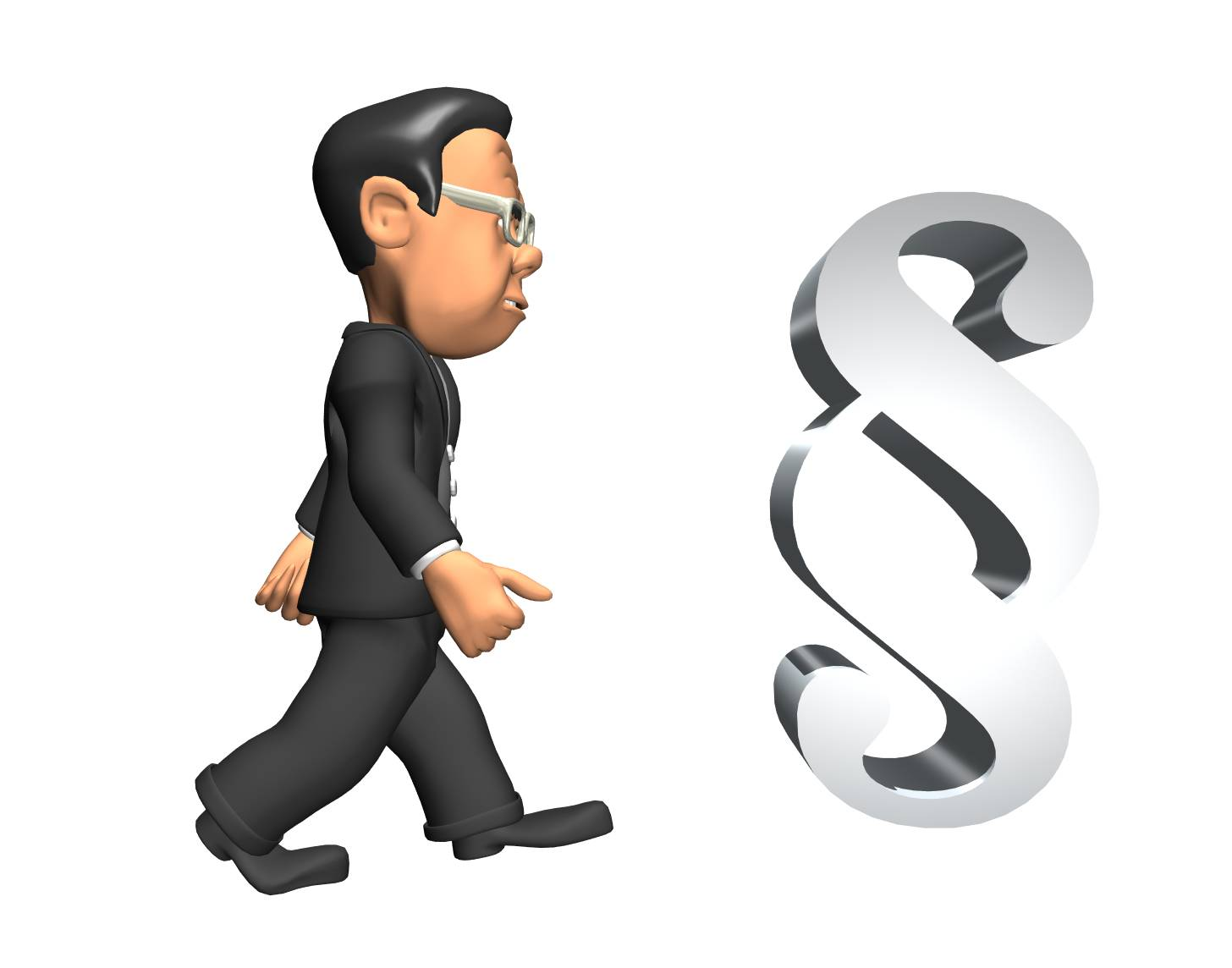 3D-mann som går mot et paragraftegn