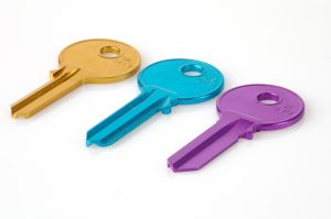 Tre fargerike nøkler