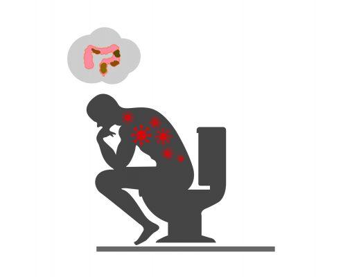 Tegning av mann på toalettet som tenker på innholdet i tykktarmen sin