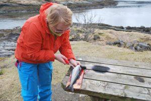 Kvinne renser fisk på et bord i fjæra