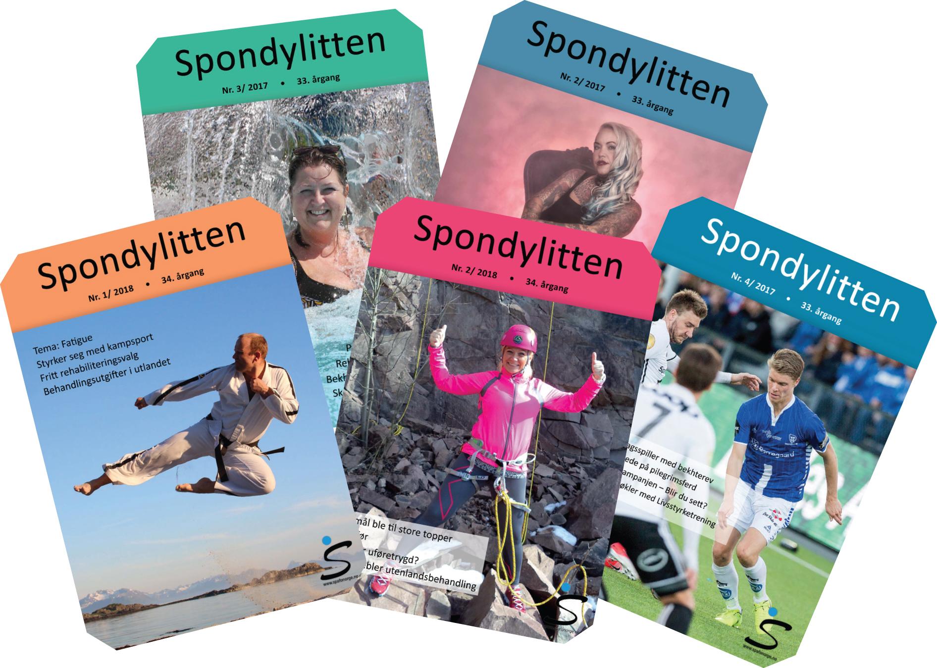 Bilde av noen Spondylitten-forsider