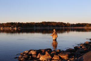 Mann står i vannet og fluefisker i solnedgangen