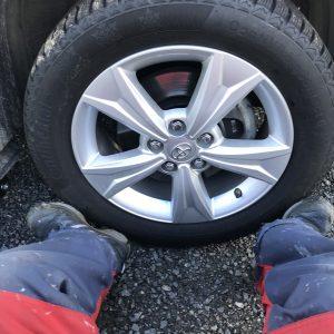 Føtter på yttersiden av hjulet