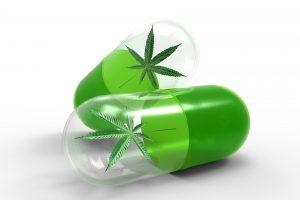 Illustrasjon av kapsler med cannabisblader inni