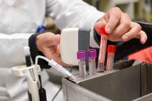 Reagensrør på et laboratorium
