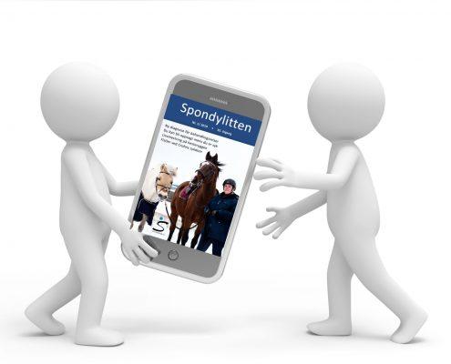 To figurer med en mobiltelefon med forsiden av Spondylitten 1-19 inni