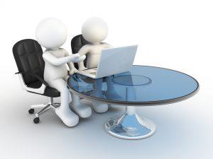 3D-menn ved laptop på et rundt bord