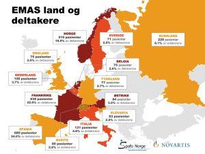 Europa-kart med antall deltagere fra alle 13 land