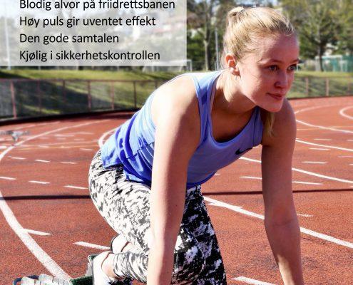 Forside Spondylitten 2-19. Ung kvinne gjør seg klar på startstreken på en friidrettsbane