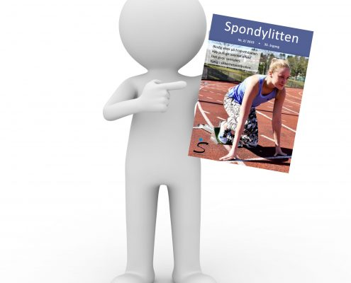 3D-figur som holder forsiden av Spondylitten 2-19
