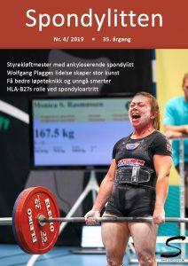 Forside av Spondylitten med kvinne som løfter vekter i konkurranse