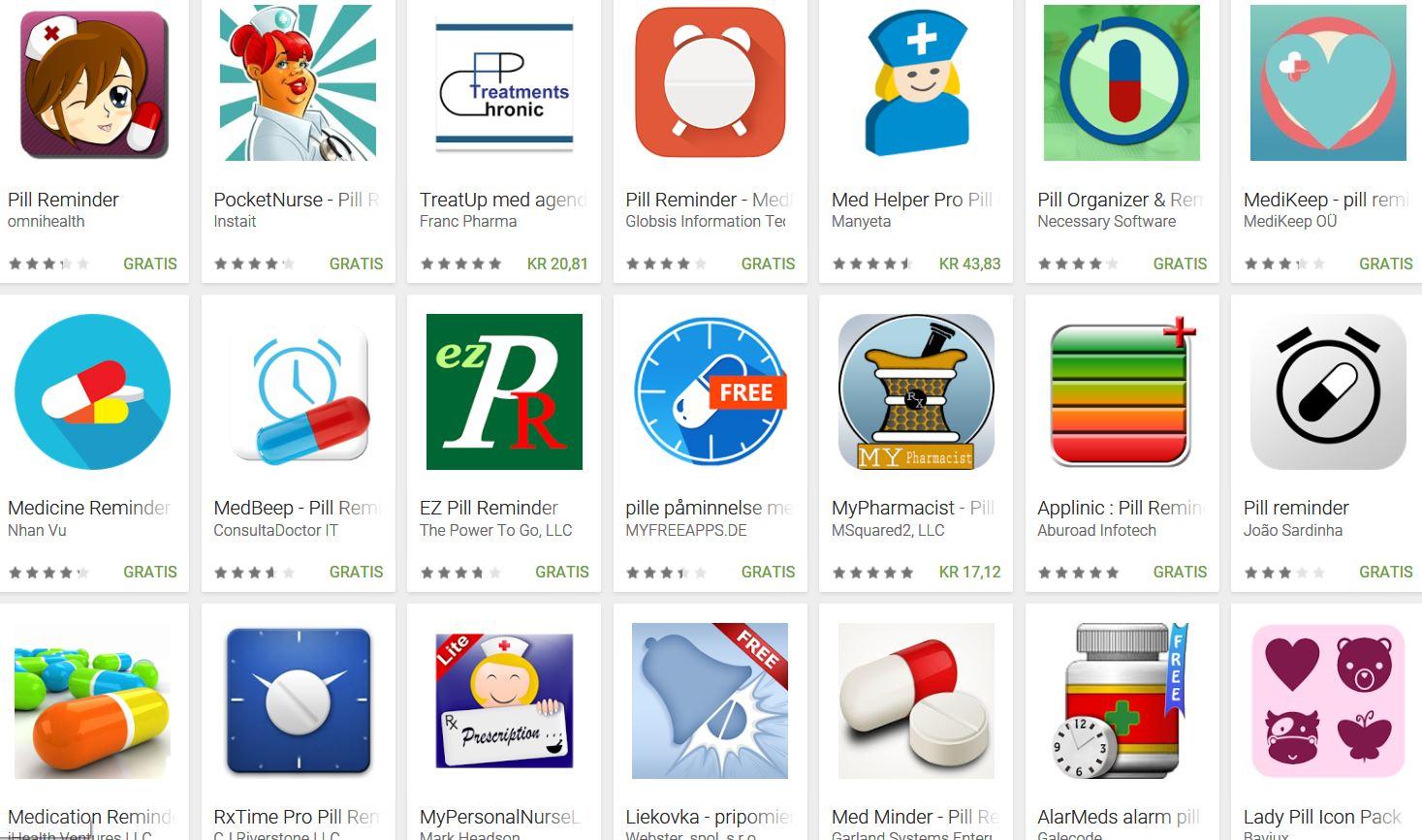 Mange appsymboler for medisinapper