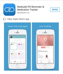 Bilde fra Appoversikt Medisafe i AppStore