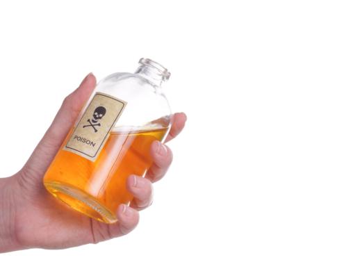 Flaske med giftlogo
