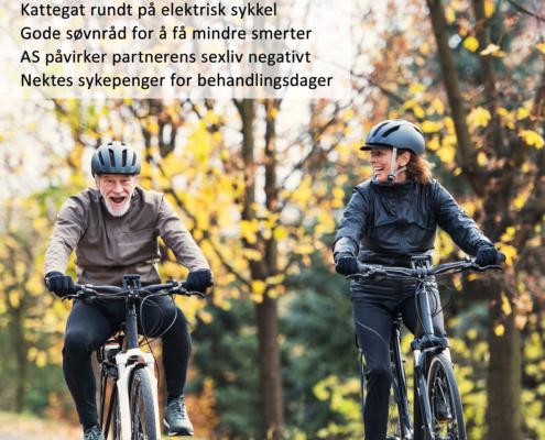 Forsiden av Spondylitten 1-20 med mann og kvinne på el-sykler